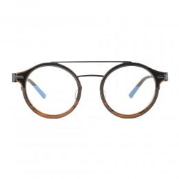 نظارة طبية ,ماركة momo design,موديل #038,للجنسين,مستدير,بني,ضد الضباب,لون العدسة شفاف,خليط معدني